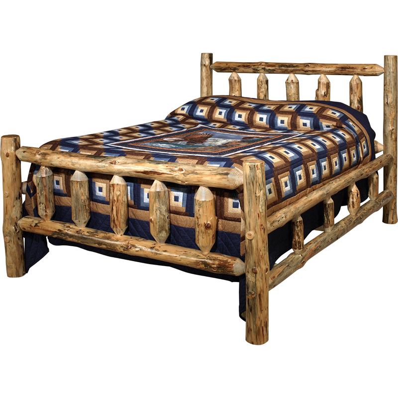 King lodge pole bed 10000 020kb lodge pole pine furniture for Furniture made in usa