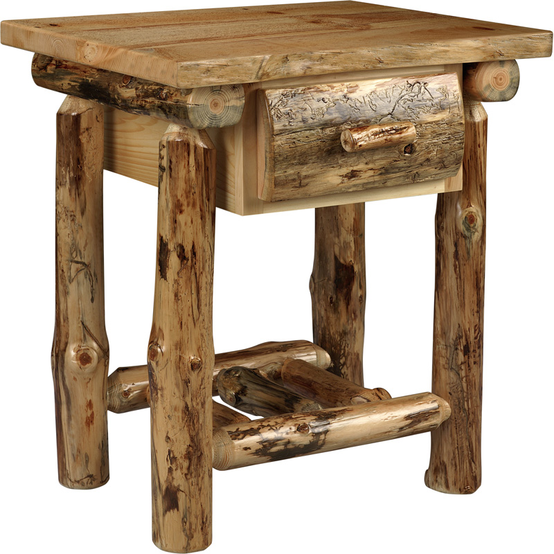 1 Drawer Nightstand 10000 0121ns1 Lodge Pole Pine Furniture Made In Usa Builder06 Outlet