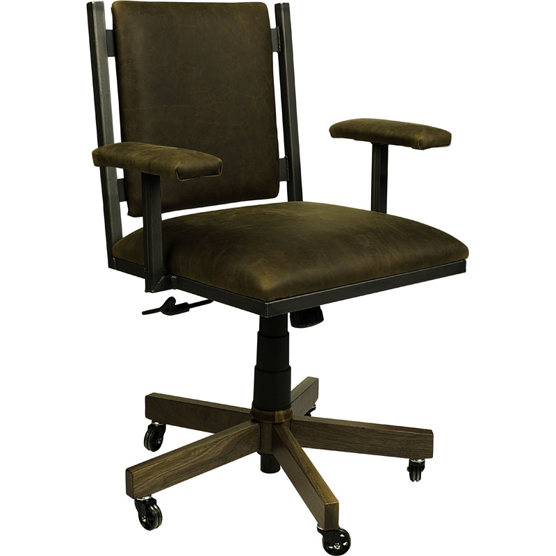 Omni Office Arm Chair With Leather 6000 0303OAC L Omni Furniture Made In USA