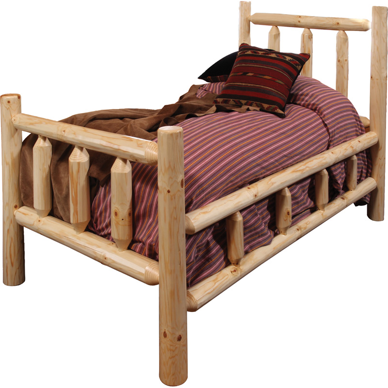 king rustic pine bed