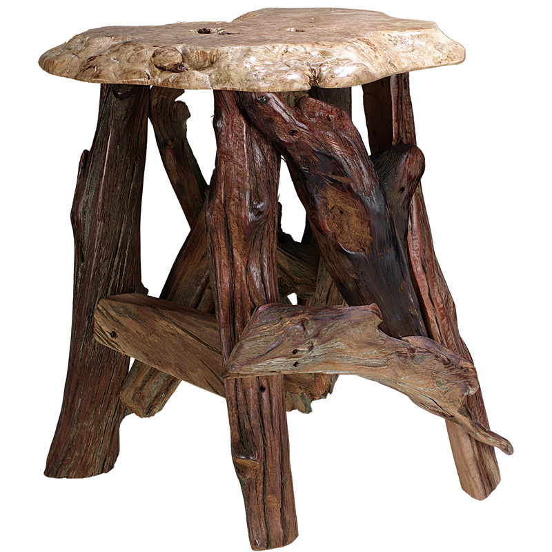 burl accent table with driftwood base 10200 0403bat rustic