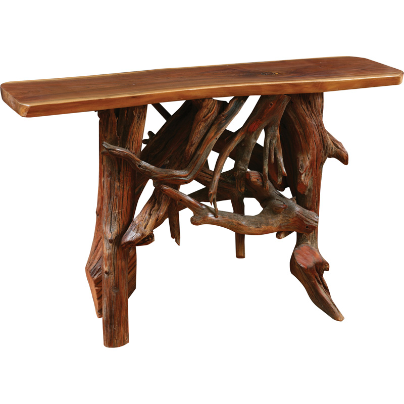 hall table with driftwood base rustic living furniture made in usa builder06 - Rustic Furniture Outlet