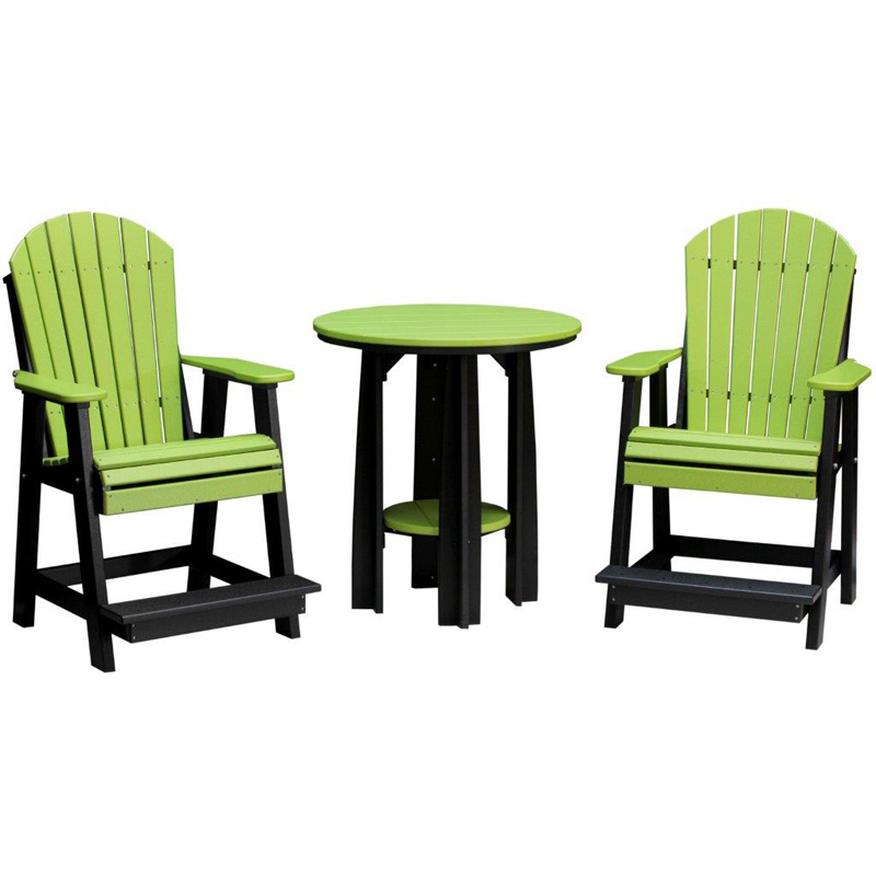 36 inch balcony table and adirondack balcony chairs lime for Balcony outlet