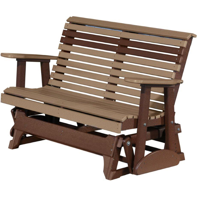 Glider Weatherwood And Chestnut Brown Outdoor Occasional Furniture Made In Usa Builder76 Outlet