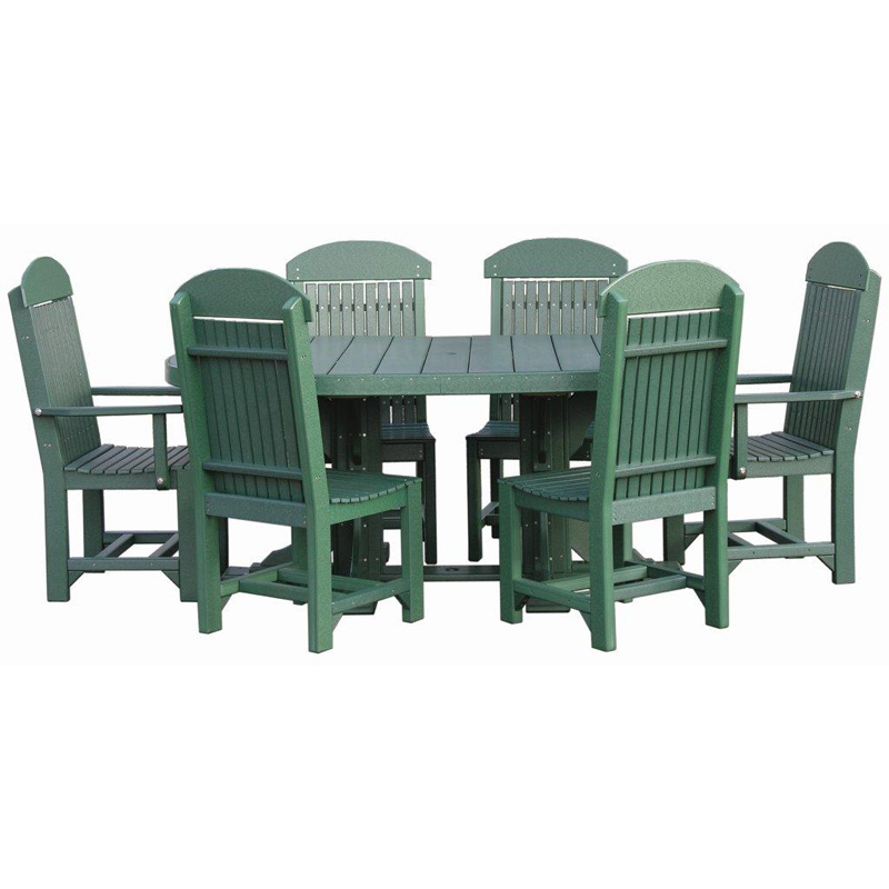 4x6 Oval Table Set Green Outdoor Occasional Furniture Made