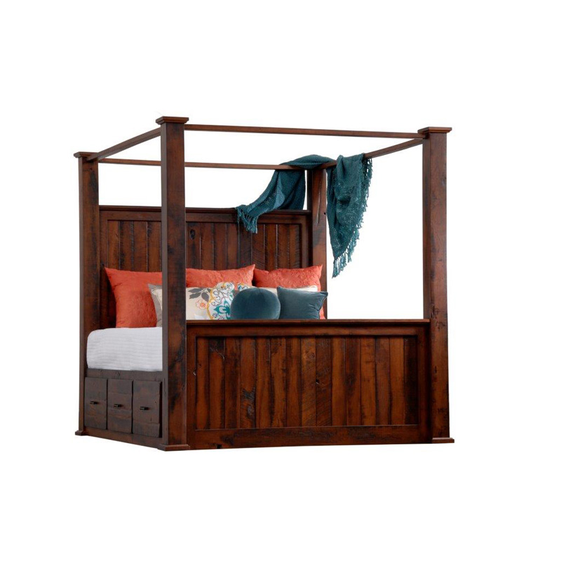 Barrs Mill King Canopy Bed With Storage Sawyer Lane Furniture Made In Usa Builder128