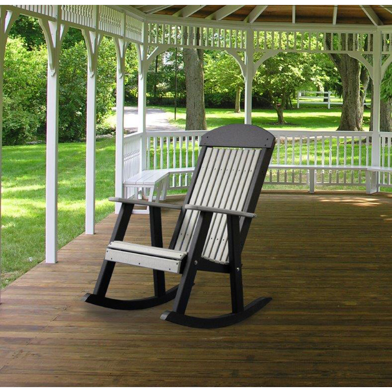 Porch Rocker Dove Gray And Black Poly Furniture Made In Usa Builder76