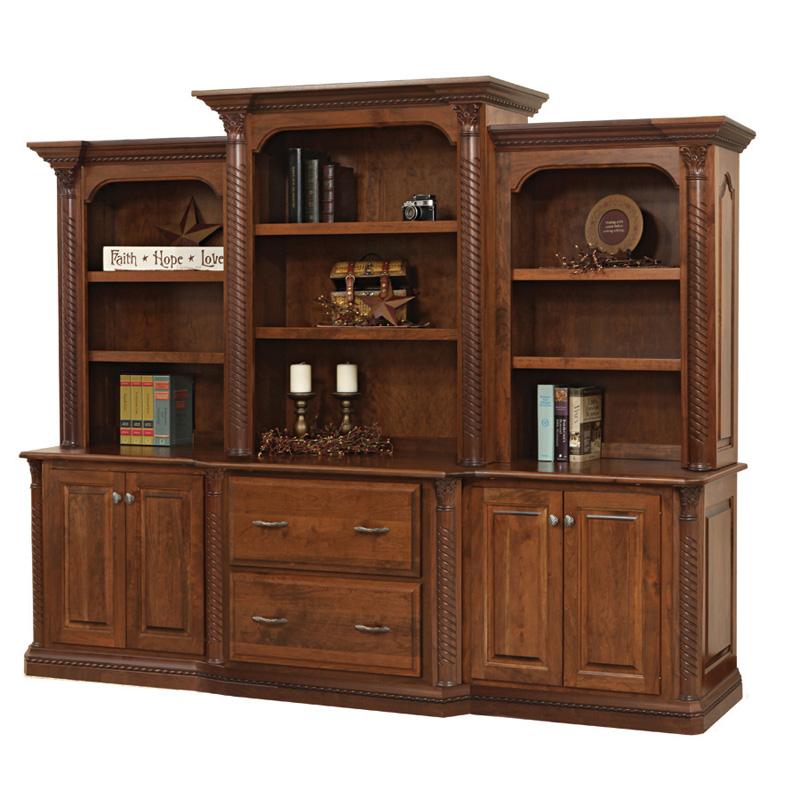 Attractive 3 Piece Hutch Bookcase Lexington Office Furniture Made In USA Builder14
